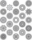 Cogwheel icon set. Set of black and white cogwheel icons Royalty Free Stock Photos