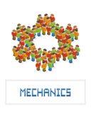 Cogwheel made up of isometric pixel art people Stock Images