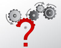 Cogwheel and question mark Stock Images