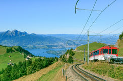 Cogwheel railroad on the Mt. Rigi Royalty Free Stock Images