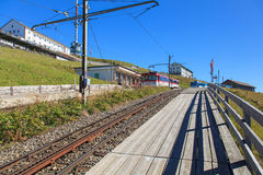 Cogwheel railroad station on the top of Mt. Rigi Royalty Free Stock Photography