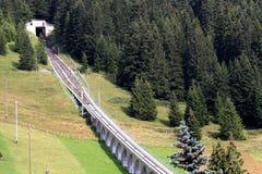 Cogwheel rails between Murren and Allmendhubel royalty free stock images