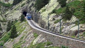 Cogwheel railway in the valley of Nuria Catalan Pyrenees stock video footage