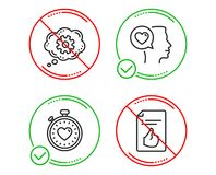 Cogwheel, Romantic talk and Heartbeat timer icons set. Approved document sign. Vector. Do or Stop. Cogwheel, Romantic talk and Heartbeat timer icons simple set vector illustration