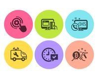 Cogwheel settings, Car service and Web call icons set. Online payment, Select alarm and Bitcoin mining signs. Vector. Cogwheel settings, Car service and Web call stock illustration