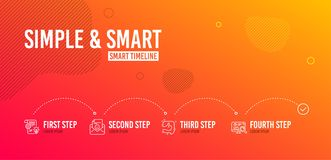 Cogwheel, Smile and Like icons set. Seo analytics sign. Idea bulb, Positive mail, Thumb up. Statistics. Vector. Infographic timeline. Cogwheel, Smile and Like royalty free illustration