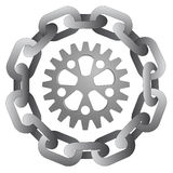 Cogwheel in strong steel circle chain  Royalty Free Stock Images