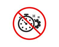 Cogwheel with timer icon. Engineering tool sign. Vector. No or Stop. Cogwheel with timer icon. Engineering tool sign. Cog gear symbol. Prohibited ban stop symbol royalty free illustration