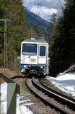 Cogwheel train in motion. The cogwheel train to the Schneeferner glacier directly from Garmisch-Partenkirchen, Grainau or Eibsee Royalty Free Stock Images