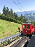 Cogwheel train of MT Pilatus. Pilatus, also often referred to Mount Pilatus, is a mountain massif overlooking Lucerne in Central Switzerland. It is composed of stock photo