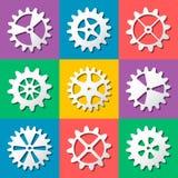 Cogwheel ustawiający odizolowywającym Fotografia Royalty Free
