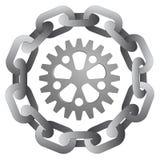 Cogwheel w silnym stalowym okręgu łańcuchu  Obrazy Royalty Free