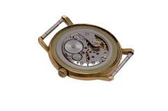 Cogwheel of watch. Mechanism  of watch  consist of metal cogwheels Royalty Free Stock Photos