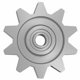 Cogwheel on white front view Royalty Free Stock Photos