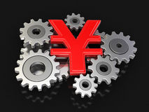 Cogwheel Yen (clipping path included) Royalty Free Stock Photography
