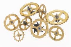 cogwheels åtta guld- gammala Fotografering för Bildbyråer