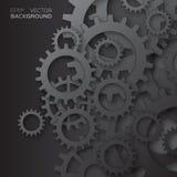 Cogwheels συστημάτων μηχανισμών μαύρα εργαλεία Στοκ Εικόνα