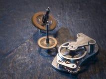 2 cogwheels и балансирной пружины Стоковые Изображения