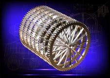 Cogwheels на голубой предпосылке Стоковое Фото