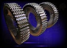 Cogwheels на голубой предпосылке Стоковые Фотографии RF
