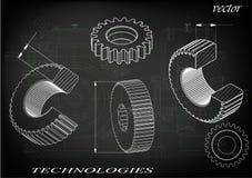 Cogwheels на черной предпосылке Стоковые Фото