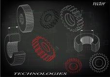 Cogwheels на черной предпосылке иллюстрация вектора