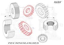 Cogwheels на черной предпосылке иллюстрация штока