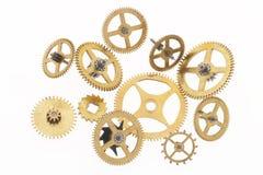cogwheels покрасили золото Стоковая Фотография RF