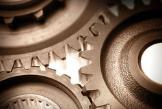 Cogwheels. Closeup of three steel cogwheels Stock Image