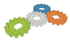 Cogwheels. Business network - isolated illustration on white ( with vector eps format Stock Image