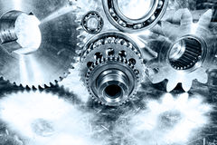 Cogwheels and ball-bearings in titanium Royalty Free Stock Photography