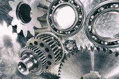 Cogwheels and ball-bearings in titanium Stock Image