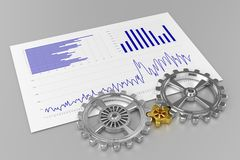 Cogwheels and Charts. Cogwheels (Chrome/Gold) and Charts - On Gray Background Royalty Free Stock Photo