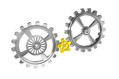 Cogwheels - Chrome/Gold - Isolated Stock Photos