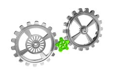 Cogwheels - Chrome/Green Royalty Free Stock Images