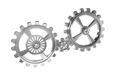 Cogwheels - Chrome - Isolated Royalty Free Stock Image