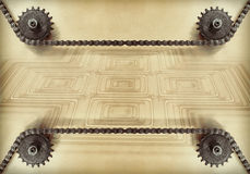 Cogwheels and double chain on grunge background.Technology background. Stock Image