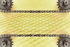 Cogwheels and double chain on yellow background with geometric pattern. Stock Image