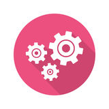 Cogwheels flat design long shadow icon Stock Photography