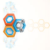 Cogwheels framed by three dimensions hexagons Stock Photos