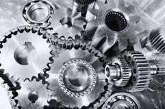 Cogwheels, gears and bearings engineering Stock Image