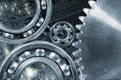 Cogwheels and gears computer calibrations Stock Image