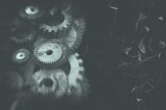 Cogwheels and gears mechanism. On digital business background Royalty Free Stock Photos