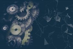 Cogwheels and gears mechanism. On digital business background Stock Photography