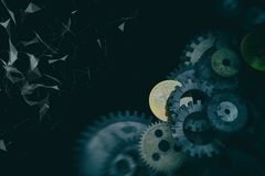 Cogwheels and gears mechanism on digital business background. Bitcoin Stock Image