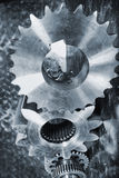 Cogwheels and gears, titanium and steel Royalty Free Stock Photo