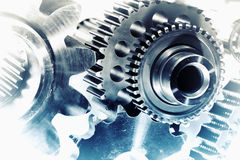 Cogwheels and gears in vintage concept. Titanium cogwheels and gears, aerospace engineering, vintage concept Royalty Free Stock Photo