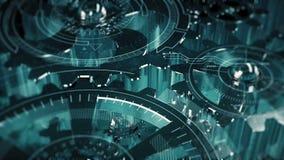 Cogwheels i HUD elementów technologiczny wstęp T2 ilustracja wektor