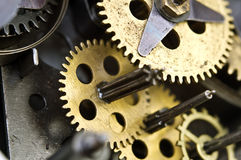 Cogwheels Inside Old Clockwork. Macro Stock Images