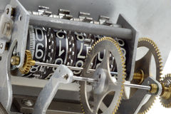 Cogwheels mechanism counter detail Royalty Free Stock Photography